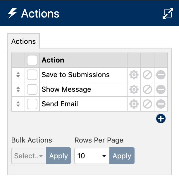 WS Form Actions Sidebar