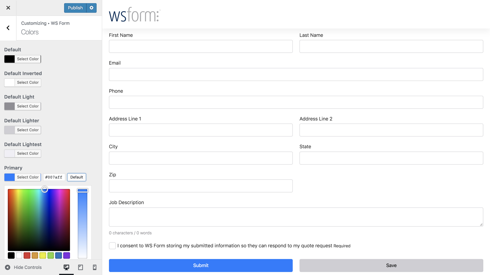 WS Form PRO - Customize Appearance