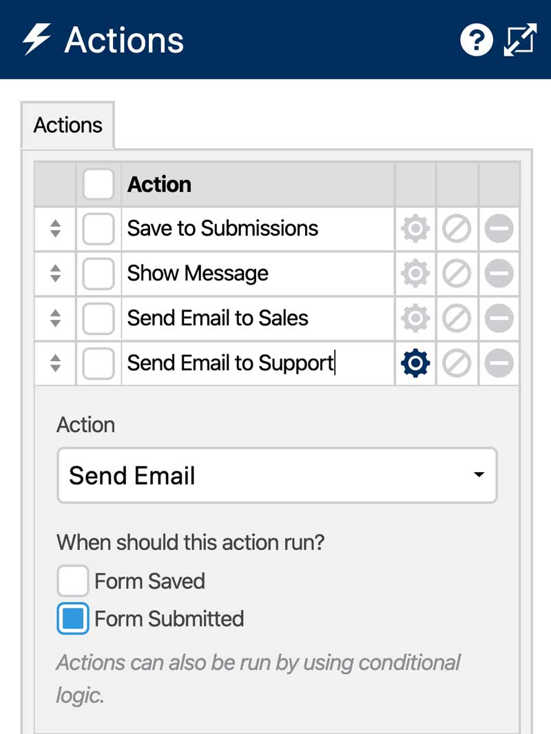 Create a Form Recipient Selector - Actions