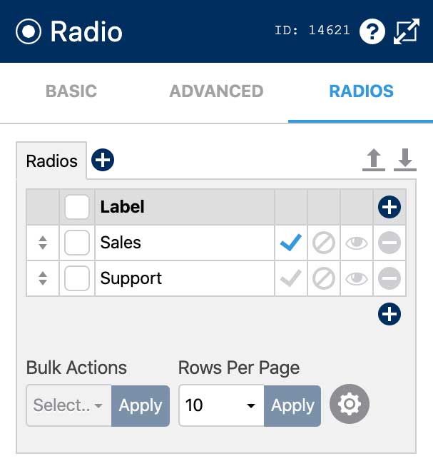 Create a Form Recipient Selector - Radio Settings