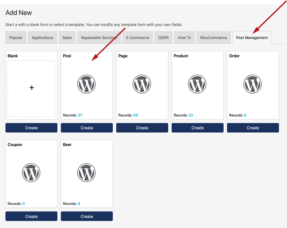 WS Form - ACF - Create Form