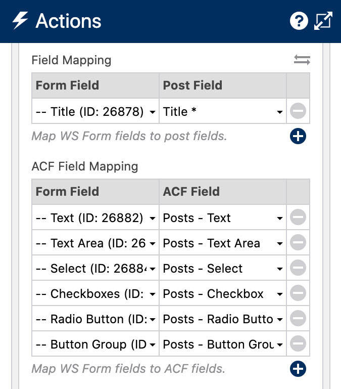 WS Form - ACF - Field Mapping