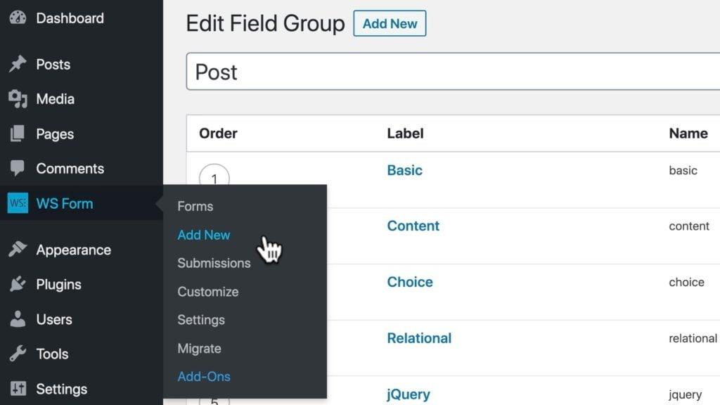 WS Form ACF Tutorial - Create a Form