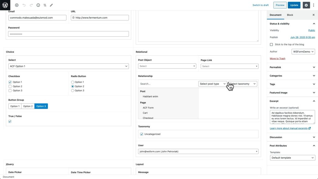 WS Form ACF Tutorial - Post